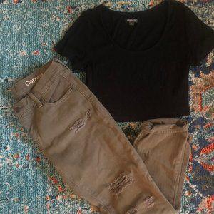 Gap Army Green Girlfriend Jeans